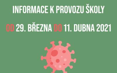 INFORMACE K PROVOZU ŠKOLY OD 29. 3. DO 11. 4. 2021